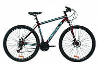 """Велосипед горный мужской 29"""" Formula Thor 2.0 2021 рама 20"""" бургундский с черным и синим"""