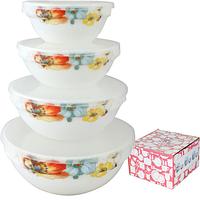 Набор ёмкостей (судков) для пищевых продуктов с крышкой, стеклокерамика (180; 300; 640; 1100 мл.), фото 1