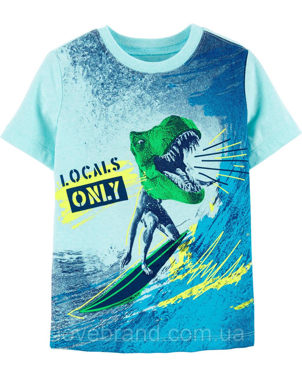 """Фирменная футболка для мальчика голубая """"Дино"""" Oshkosh"""