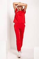 Летний женский спортивный костюм с футболкой красного цвета батальных размеров