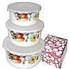 Набір ємностей (судків) для зберігання харчових продуктів, 3 шт., склокераміка (550; 900; 1400 мл)