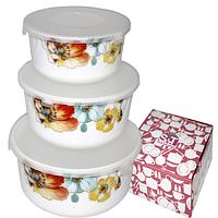 Набір ємностей (судків) для зберігання харчових продуктів, 3 шт., склокераміка (550; 900; 1400 мл), фото 1