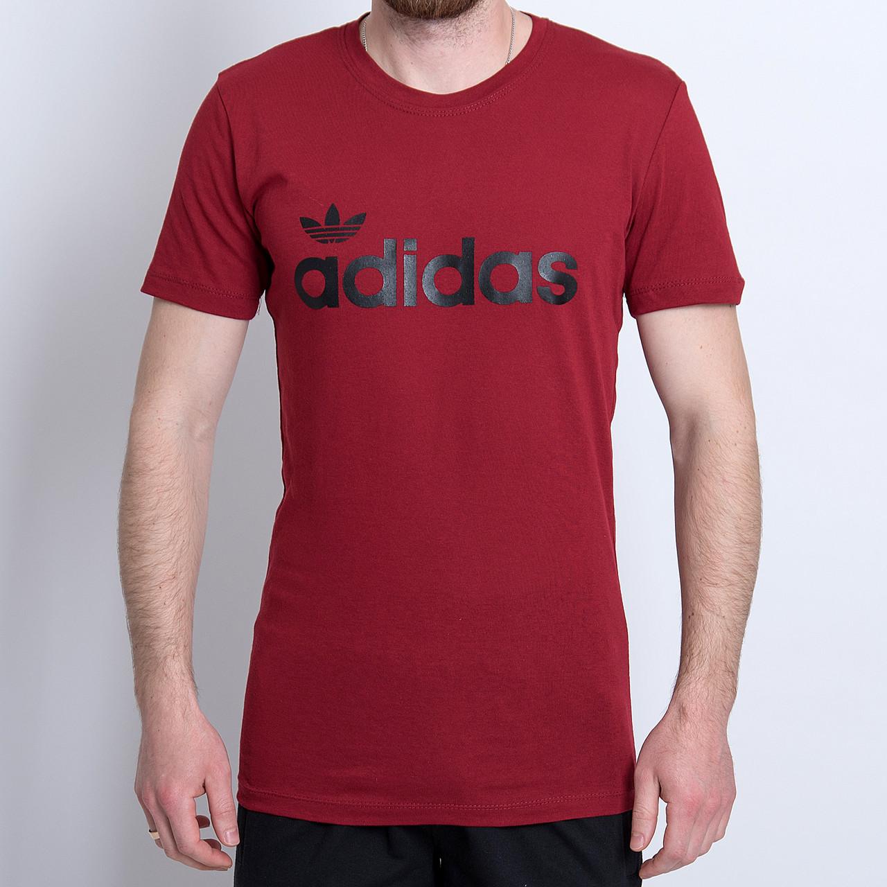 Чоловіча спортивна футболка Adidas, кольору бордо