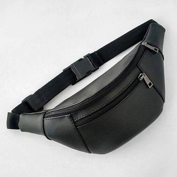Черная сумка бананка искусственная кожа с карманом