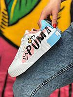 Кроссовки женские кожаные белые Puma Cali Sport White | кроссовки пума