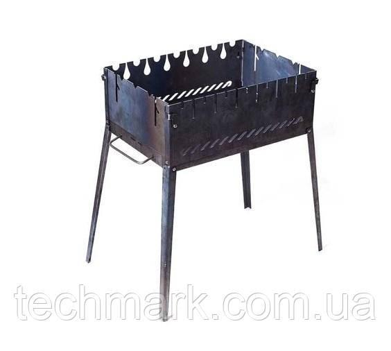 Раскладной мангал чемодан на 6 шампуров из черной стали