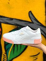 Кроссовки женские кожаные белые Puma Cali Sport White Pink | кроссовки пума