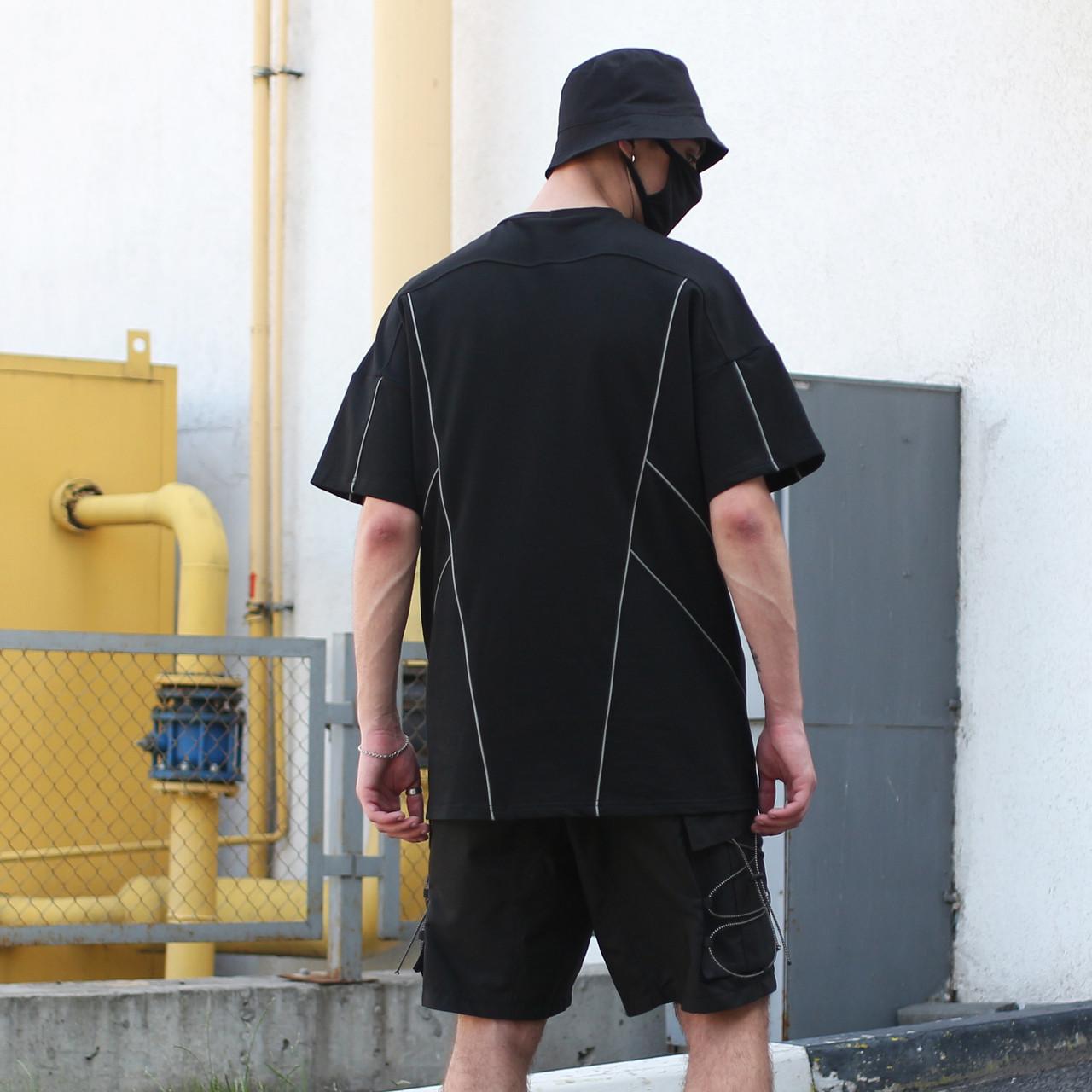 Футболка мужская черная  с рефлективным кантом бренд ТУР модель Сайбот (Saibot)