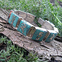 Браслет бирюза серебро Мантра Зеленой Тары  натуральные камни