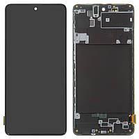 Дисплей для Samsung Galaxy A71 A715, модуль (экран и сенсор), с рамкой, черный, оригинал