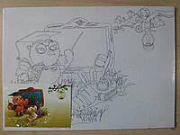 Полотно на картоні з контуром Мультяшки 283107
