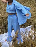 Легкий летний костюм тройка брюки +рубашка +топ, фото 3