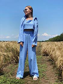 Легкий летний костюм тройка брюки +рубашка +топ
