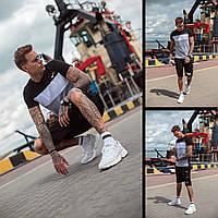 Мужской летний спортивный костюм трикотажный футболка с шортами реплика Nike черный белый серый 46 48 50 52