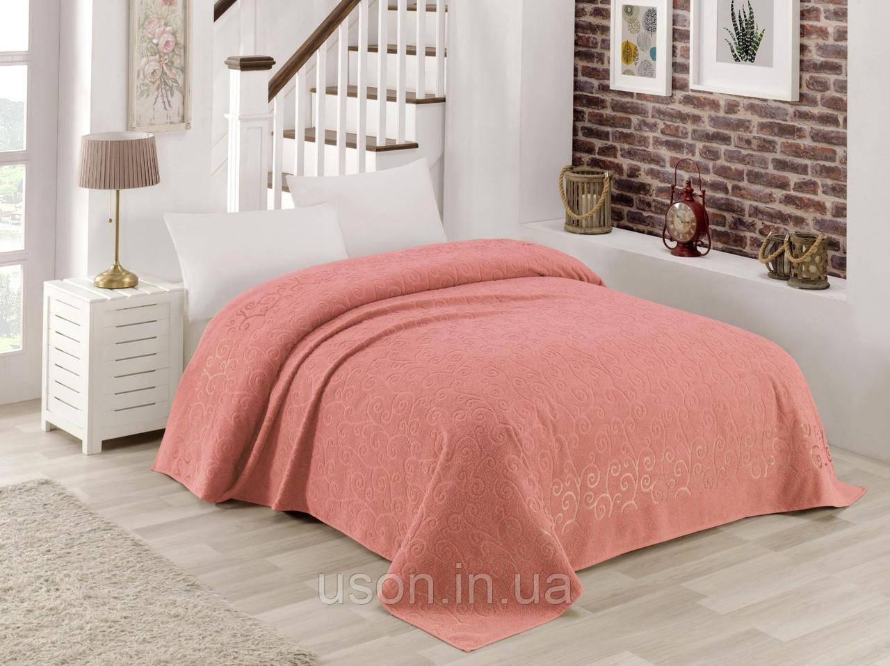 Турецкая махровая хлопковая простынь  Tм Zeron Bermal розовый