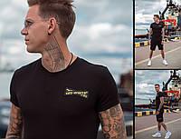 Мужской летний черный спортивный костюм трикотажный футболка с шортами Off с хлопка 46 48 50 52