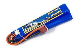 Аккумулятор для страйкбола Giant Power (Dinogy) Li-Pol 7.4V 2S 2000mAh 25C 2 лепестка 10.5х21х126мм T-Plug