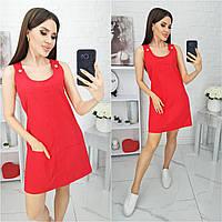 N186 Летний сарафан ляной красного цвета/ цвет красный, фото 1