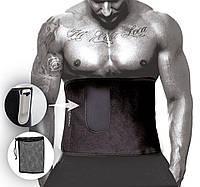 Пояс для схуднення PowerPlay 4301 (125*30) Чорний з додатковою кишенеюдля телефону