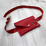 Сумка konvert kolco красный из натуральной кожи kapri, фото 10