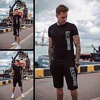 Мужской летний черный спортивный костюм трикотажный футболка с шортами хлопка принтом надписью 46 48 50 52