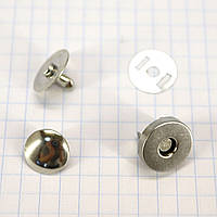 Кнопка магнит 14 мм на заклёпке никель для сумок t5007 (30 шт.)