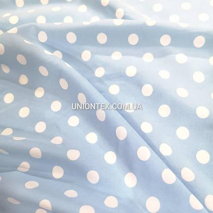 Ткань супер софт принт белый горох 1см на голубом, фото 2