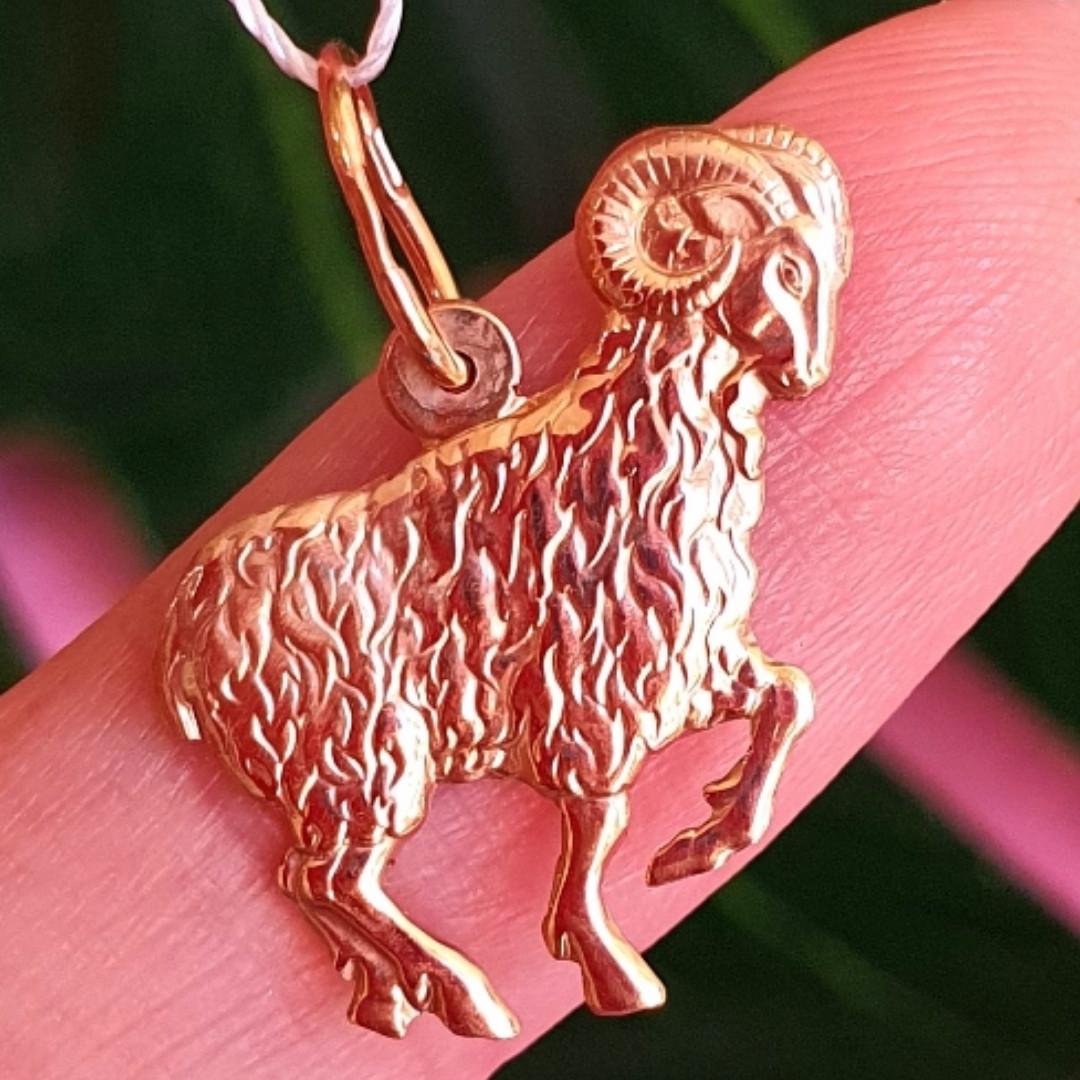 Золотой кулон знак зодиака Овен