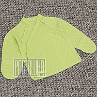 Летняя с дырочками р 62 1-3 мес хлопковая кофточка для новорожденных в роддом швы наружу АЖУР 4752 Зеленый