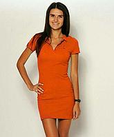 Платье поло, оранжевый, размер XS(36),S(38), M(40), L(42),.