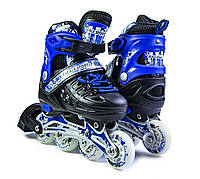 Ролики раздвижные Scale Sports с PU колесами. Чёрно-синие. Размеры 29-33, 34-37, 38-42