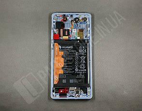 Дисплей Huawei P30 Pro Aurora (02352PGE) сервисный оригинал в сборе с рамкой, акб и датчиками, фото 2