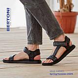 Стильные кожаные комфортные чёрные сандалии Bertoni, фото 4