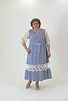 Платье льняное голубого цвета в полоску на кулиске с гипюровым рукавом