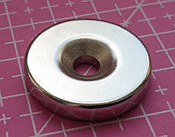 Неодимовый мощный магнит дисковый 25 х 5 мм N52 с отверстием magnet Neodymium магніт диск 25*5мм