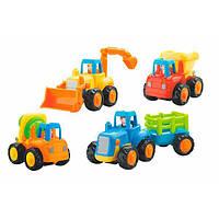 Детский набор инерционных машинок спецтехники с подвижными рабочими частями Hola Toys Грузовичок 4 шт.
