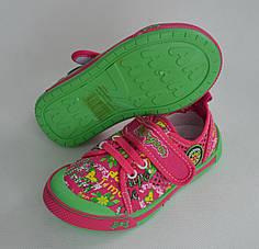 Детские кеды тапочки мокасины для девочки Super Gear салатовый с розовым 31р 20см