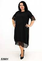 Женское летнее платье с кружевом чёрное 54,56,58,60,62,64