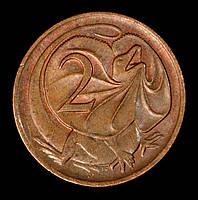 Монета Австралии 2 цента 1980 г. Ящерица