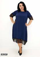 Женское летнее платье с кружевом синие 54,56,58,60,62,64