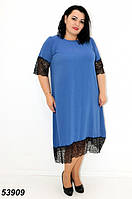 Женское летнее платье с кружевом голубое 54,56,58,60,62,64