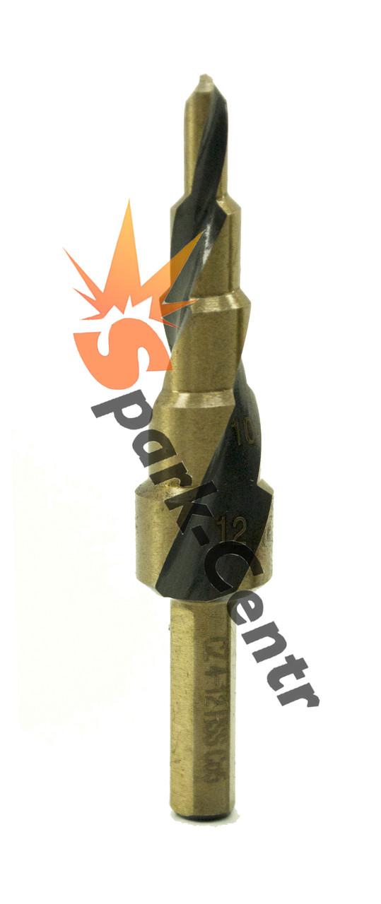 Сверло ступенчатое Ø 4-12 мм легированное кобальтом со спиральной конавкой HSS Co5 (Р6М5К5)