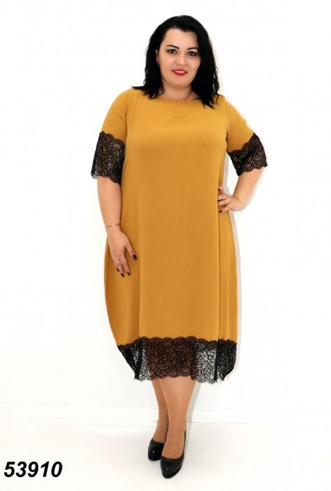 Женское летнее платье с кружевом горчичного цвета 54,56,58,60,62,64