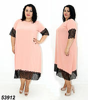 Жіноче літнє плаття з мереживом рожевий 54,56,58,60,62,64, фото 1