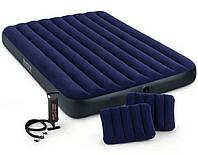 Надувной матрас Intex 64765, 152*203*25 см + две подушки + ручной насос в подарок