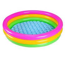Разноцветный детский надувной бассейн с надувным дном круглой формы  Intex 58924, фото 3