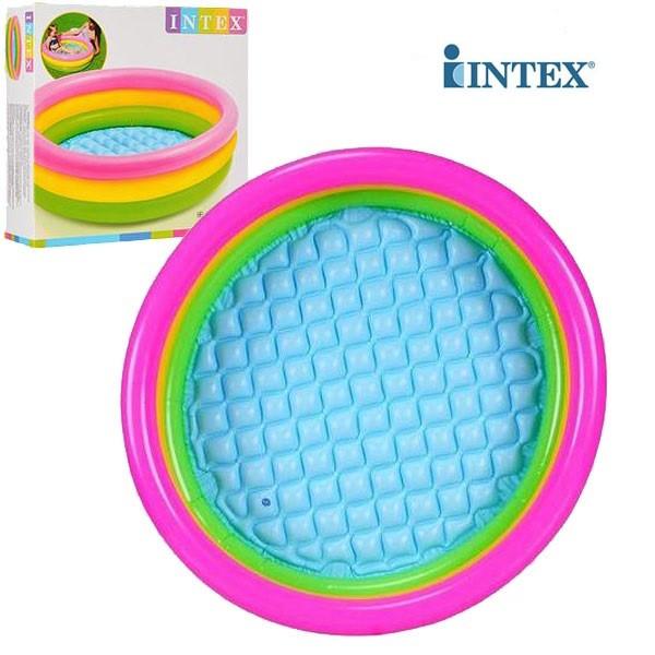 Разноцветный детский надувной бассейн с надувным дном круглой формы  Intex 58924