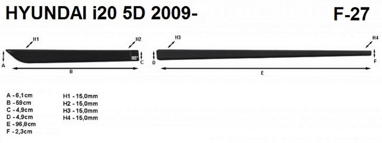Молдинги на двері для Hyundai i20 Mk1 5Dr 2008-2014, фото 5