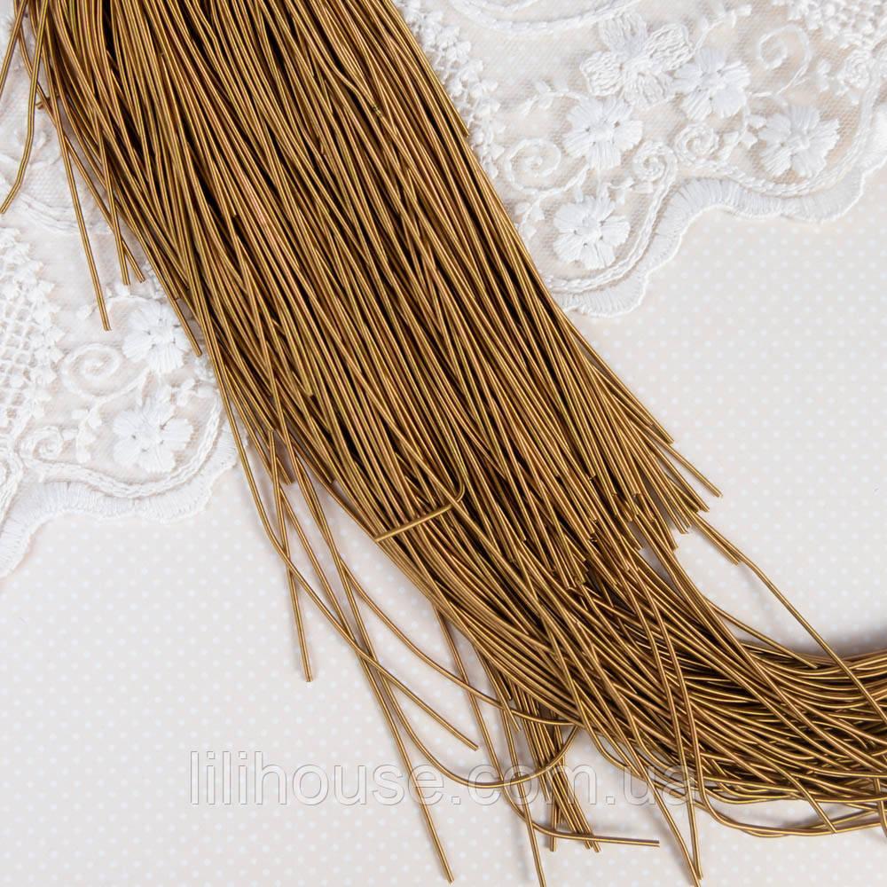 """Канитель матовая гладкая """"Античное Золото"""" Индия, 1 мм - 10 г."""