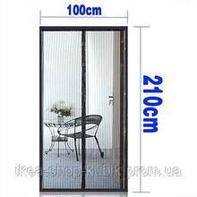 Антимоскітна сітка штора на магнітах Magic Mesh на двері 210 см на 100 см Колір коричневий